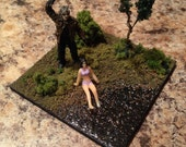 Jason with victim by lake- 3 inch Decorative Diorama Cube