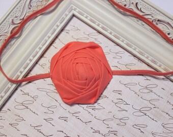 Coral Rosette Headband, Baby Headbands, Coral Headbands, Rosette Headbands, Newborn Headbands, Photography Prop
