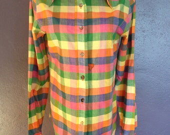 Handmade All-Cotton Madras Women's Shirt from a Classic 70s Pattern, 34-inch Bust