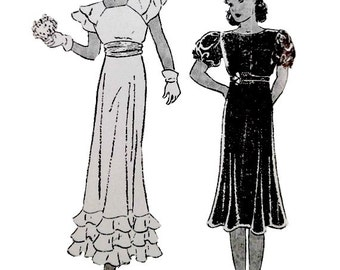 Vintage 1930's Girls Dress Pattern Size 10 Bust 28 Special Occasion Empire Waist Formal Original Butterick 5371 Non Printed Factory Folds