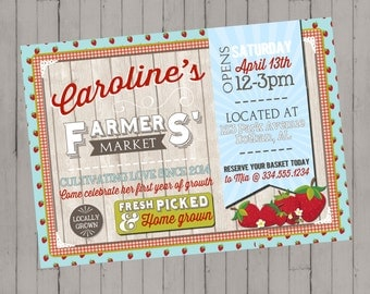 Farmers' Market Invitation | Freshly Picked Market Garden Birthday Invitation | Girls Birthday | Digital Invitation