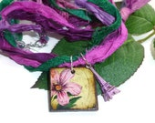 Sari Ribbon Necklace with Flower & Eiffel Tower Pendants; Pink, Purple, Green