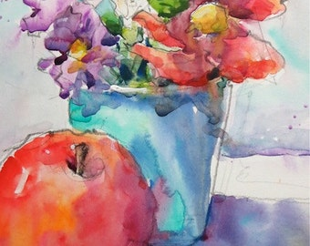 "Hand Painted Original Watercolour painting titled ""mish mash"" - flowers, still life, wall hanging, home decor - 5x7""painting and 8x10""mat"
