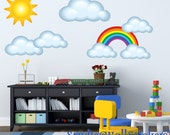 REUSABLE Clouds Sun Rainbow Wall Decal - Childrens Fabric Wall Decal - REUSABLE Wall Decals