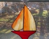 Stained Glass Sailboat - Nautical Decor - Sailboat Suncatcher - Boat Art - Coastal Art - Beach Decor - Red - Orange - Sunset