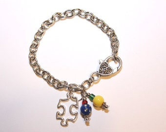 Autism Awareness Puzzle Piece Silver Charm Bracelet With Coordinating Beads