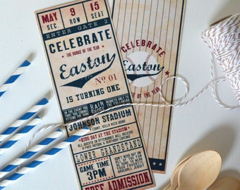 Digital File - Vintage Baseball Ticket Invitation