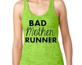 Runner Tank Top NEON GREEN Racerback Burnout Tank.  Womens Workout Shirt. Runners Tank Top
