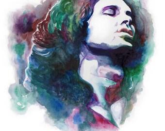 JIM MORRISON POSTER - The Doors poster, Jim Morrison portrait, Jim Morrison illustration, Jim Morrison wall art, art print, rock poster