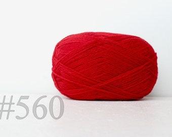WOOL yarn 100%-knitting yarn - bright red #560