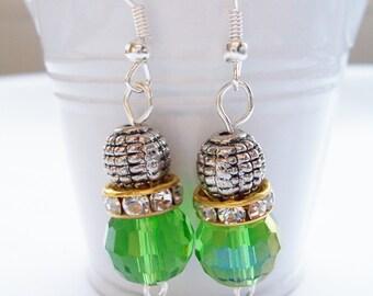 Green crystal and metal earrings - Swarovski banded earrings - green crystal earrings - green jewerly - metal beaded earrings