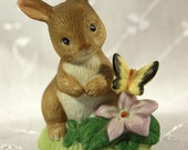 Homco Collectible Bunny Rabbit with Yellow Butterfly and Pink Flower