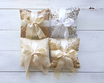 Wedding Ring Bearer Pillow - Taffeta Sequin with Satin Bow