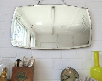 Vintage Large Art Deco Bevelled Edge Wall Mirror with Lovely Pattern
