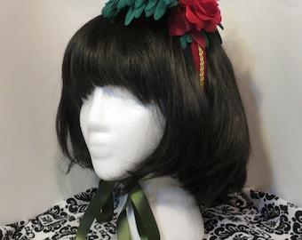 Closing Sale! Classic Lolita Headband - Red Green Gold Birdcage headdress - flowers birdcage headband gold bird green red gold lolita