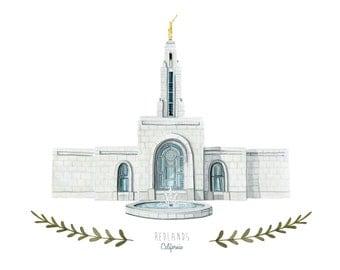 Redlands California LDS Temple Illustration - Archival Art Print