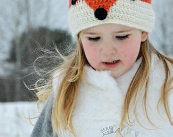 Fox Winter Hat, Crochet Fox Hat, Crochet Wolf Beanie, Red Fox Hat Kids, Boys Gray Wolf Hat, Girls Red Fox Beanie, Silver Fox Knit Hat