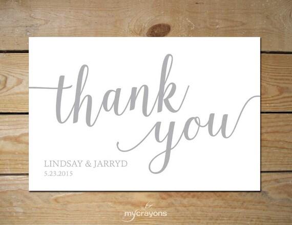 printable thank you card bella script  gray wedding thank