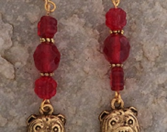 Bulldog Gold Plated Charm Earrings -Red Flower and Faceted Beads
