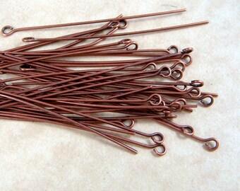 "Eye Pins, Copper Eye Pins - 2"" Red Copper EyePins - Red Copper Eye Pins, Nickel Free - 5.0cmx0.7mm (ep5.0m-C) - Qty. 100"