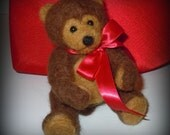 """Brown Teddy Bear Needle Felted Alpaca 6""""  with Red Ribbon Bow"""