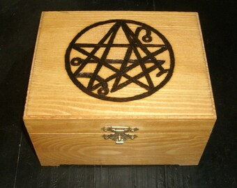 Necronomicon Sigil Box (Pyrography) You Pick the Color, Free US Shipping