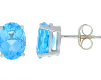 Blue Topaz Oval Stud Earrings .925 Sterling Silver Rhodium Finish