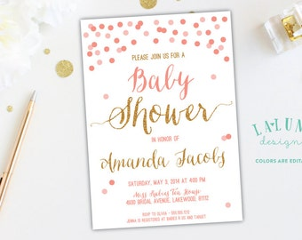 Baby Shower Invitation, Confetti Baby Shower, Glitter Baby Shower Invitation, Baby Boy, Baby Girl, Gender Neutral, DIY Printable