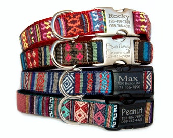 Dog collar Personalized engraved dog collar Embroidered dog collar Ethnic Aztec Tribal boho bohemian dog collar Dog ID tag boy dog collar