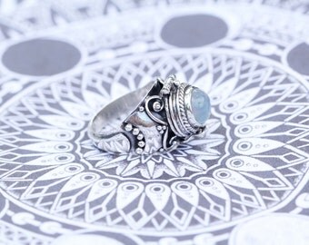 Rainbow Moonstone Ring, Locket Ring, Silver Rings, Boho, Secret Compartment Ring, Poison Ring, 925 Sterling Silver Ring, Moonstone, Don Biu