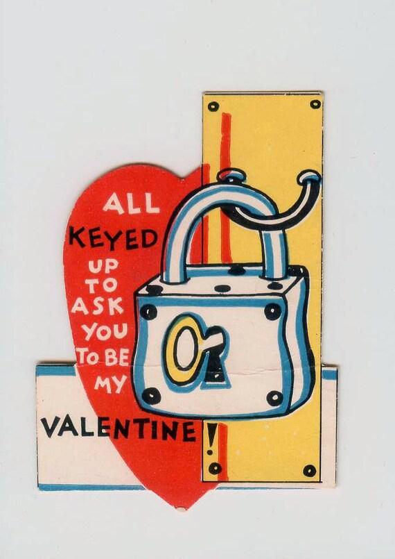 Vintage Lock & Key Die-Cut Valentine All Keyed Up Valentine's Day Card 1930s