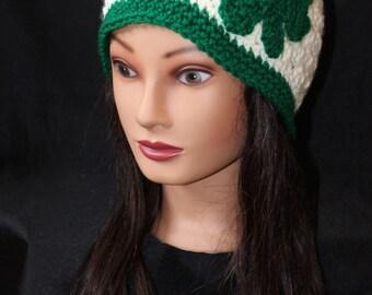Women's Off White St. Patrick's Day Green Shamrock Beanie Hat