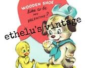 vintage Valentine DIGITAL DOWNLOAD • wooden shoe | dog and duckling • 1950's Valentine • JPEG digital download