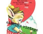 vintage Valentine DIGITAL DOWNLOAD • golf bunny • 1950's Valentine • JPEG digital download