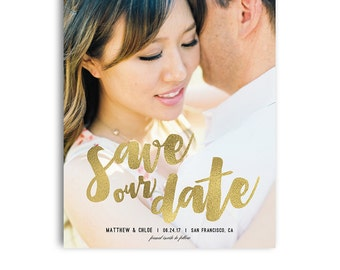 Save The Date Template - Engagement Announcement Card Photoshop Template - MATTHEW & CHLOE - 1391