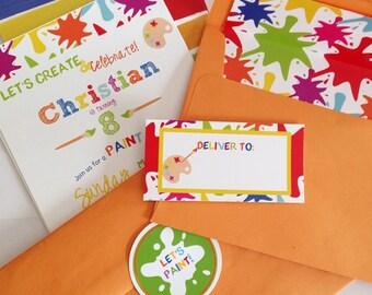 Art Party Birthday Invitation/Rainbow Paint Party Birthday Invitation/Boy or Girl Invitation/Paint Party Invitation/Art Birthday Invitation