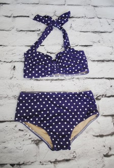 Purple and white polka dot Girls retro swimsuit bikini two piece made
