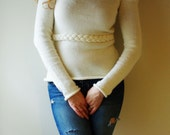 Cream off-shoulder Top Sweater with Plaited details