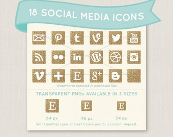 Gold Glitter Social Media Icon Set - 18 unique and pretty icons to use for your blog, website, or portfolio. Available in multiple sizes!