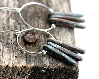Ethnic Hoop Earrings, Sterling Silver Hoops, Gypsy Earrings, Rustic Patina, Ethnic Jewelry, Boho earrings by MayaHoney