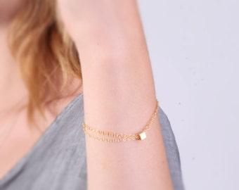 Gold bracelet, simple gold filled bracelet, delicate bracelet, everyday bracelet, cube bracelet  -21013