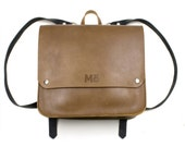 Sunday Leather Backpack, Natural, Brown Leather Backpack, Black Leather Straps, Buckle Straps, Women's Backpack