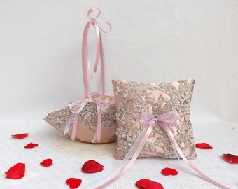 Antique Pink Wedding Ring Pillow and Flower Girl Basket Wedding Set decorated with embroidered floral lace.