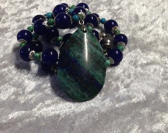 Ocean Jasper Necklace with Malay Jade  Contemporary Jewelry Gemstone Unique