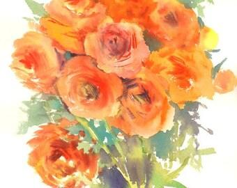 Orange Flowers Art, Ranunculus, Buttercups Original watercolor painting, 10 x 14 in,  watercolor art