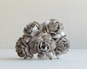 35mm Grey Paper Roses - 5 mulberry paper flower with wire stems - Great for wedding decoration and bouquet [177-e]