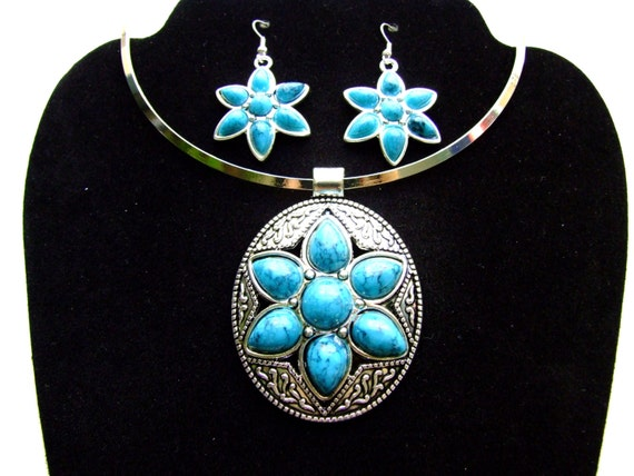 turquoise silver choker necklace earrings gift set