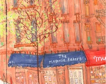 THE MAGNOLIA BAKERY, Bleecker Street, West Village New York City, Signed Art Print, New York Watercolour Painting Cupcakes, Clare Caulfield