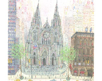 ST PATRICKS CATHEDRAL New York Giclee Print by Clare Caulfield, Nyc Architecture, New York Watercolor Painting, New York Taxi, Nyc Wall Art
