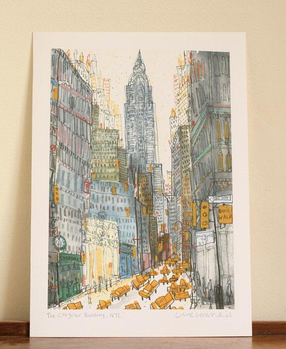 Watercolor New York: CHRYSLER BUILDING NYC Print New York Watercolor Painting